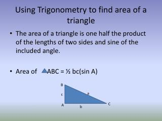 Using Trigonometry to find area of a triangle