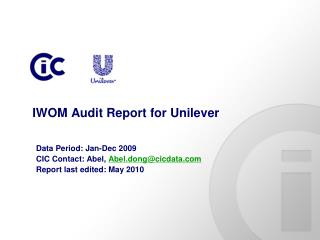 IWOM Audit Report for Unilever