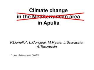 Climate change  in  the Mediterranean  area in  Apulia