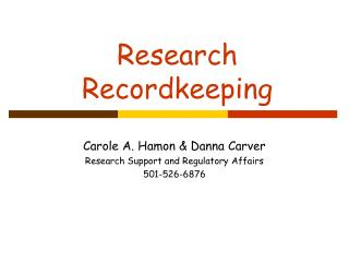 Research Recordkeeping