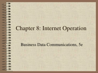 Chapter 8: Simple Network Operations