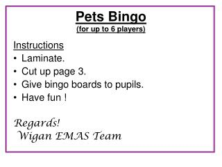 Pets Bingo  (for up to 6 players)