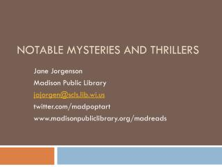 Notable Mysteries and thrillers