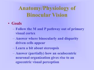 Anatomy/Physiology of Binocular Vision