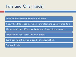 Fats and Oils (lipids)