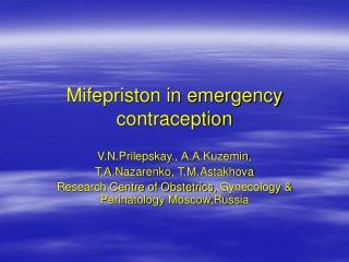 Mifepriston in emergency contraception