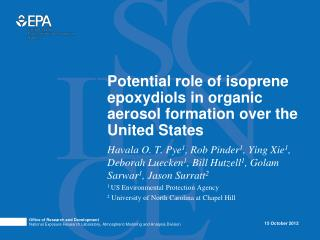 Potential role of isoprene  epoxydiols  in organic aerosol formation over the United States