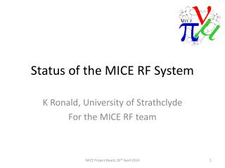 Status of the MICE RF System