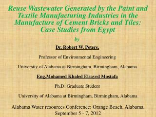 Alabama Water resources Conference; Orange Beach, Alabama, September 5 - 7, 2012