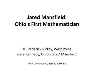 Jared Mansfield:  Ohio's First Mathematician