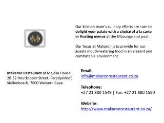 Makaron Restaurant in Stellenbosch, Western Cape