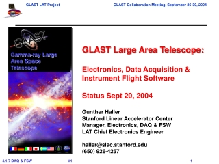 GLAST Large Area Telescope: Electronics, Data Acquisition & Instrument Flight Software