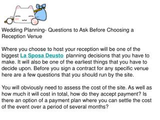 Wedding Planning- Questions to Ask Before Choosing a Recepti
