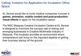 Calling/ Invitation for Application for Incubation Office Space