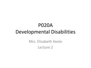P020A Developmental Disabilities
