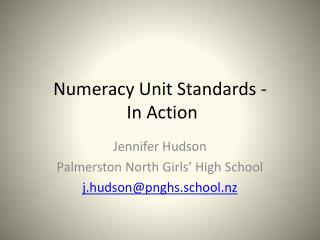Numeracy Unit Standards -  In Action