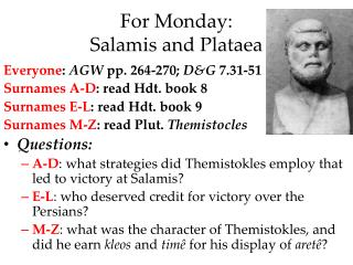 For  Monday: Salamis and Plataea