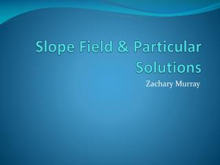 Slope Field & Particular Solutions