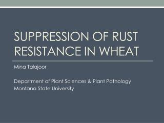 Suppression of rust resistance in wheat