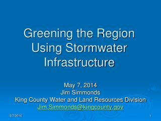 Greening the Region Using Stormwater Infrastructure