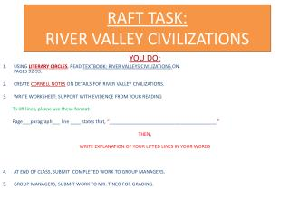 RAFT TASK: RIVER VALLEY CIVILIZATIONS