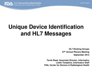 Unique Device Identification and HL7 Messages