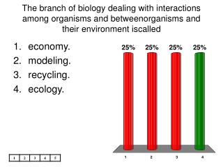 The branch of biology dealing with interactions among organisms and betweenorganisms and their environment iscalled