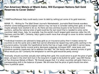 Pan American Metals of Miami Asks, Will European Nations Sel