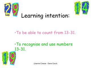 Learning intention: