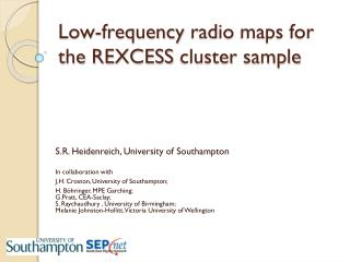 Low- frequency radio maps for the REXCESS cluster sample