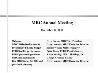 MRC Annual  Meeting December  12, 2012