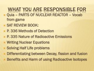 what you are responsible for