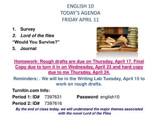 ENGLISH 10 TODAY'S  AGENDA FRIDAY APRIL 11