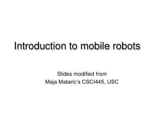 Introduction to mobile robots