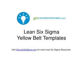 Lean  Six Sigma  Yellow Belt Templates