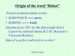 """Origin of the word """"Robot"""""""