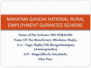 MAHATMA GANDHI NATIONAL RURAL EMPLOYMENT GURANTEE SCHEME