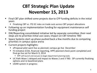 CBT Strategic Plan Update November 15,  2013