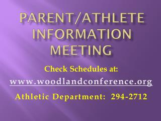 Parent/Athlete Information Meeting