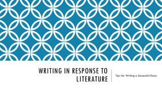 Writing in response to literature