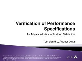 Verification of Performance Specifications
