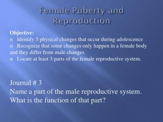 Female Puberty and Reproduction