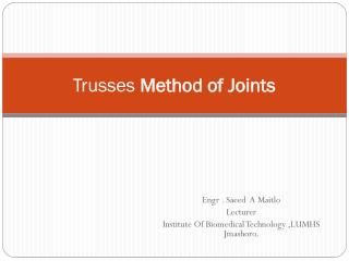 Trusses  Method of Joints