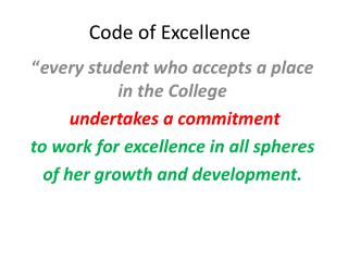 Code of Excellence