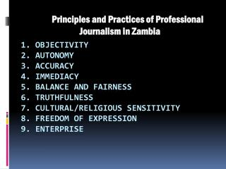 Principles and Practices of Professional Journalism in Zambia