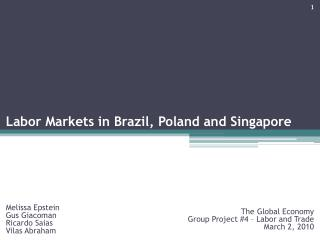 Labor Markets in Brazil, Poland and Singapore
