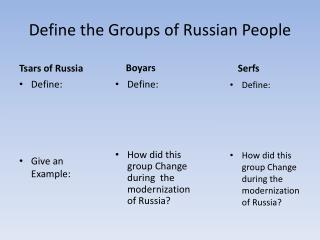 Define the Groups of Russian People