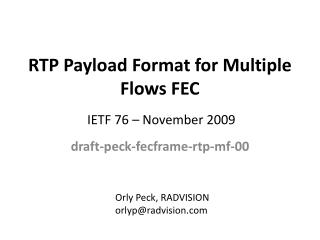 RTP Payload Format for Multiple Flows FEC