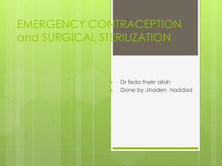EMERGENCY CONTRACEPTION and  SURGICAL  STERILIZATION