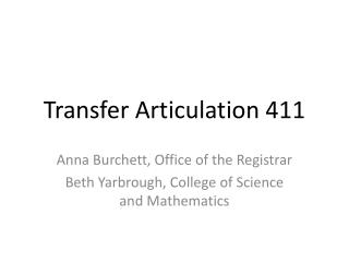 Transfer Articulation 411